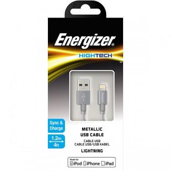 Cablu de date metalic MicroUSB Energizer 1.2m argintiu