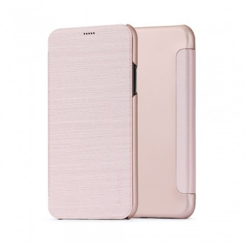 Husa de protectie Meleovo Smart Flip, pentru Apple iPhone X, Rose Gold - 1