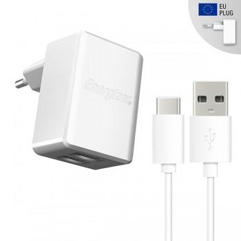 Incarcator retea Energizer 2.4A, 2USB,Cablu MicroUSB Type C inclus, lungime 1 metru, Alb