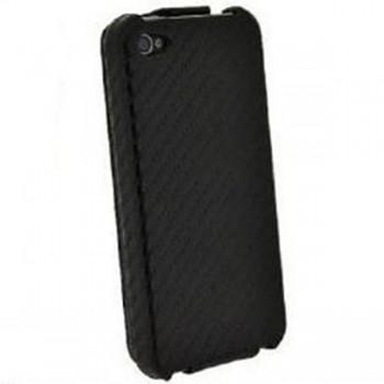 Husa flip 4OK model Klap Carbon Case pentru Apple iPhone 5 Black