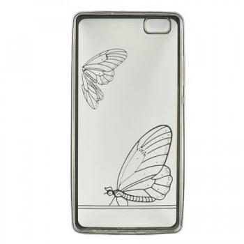 Husa de protectie Tellur Silicon pentru Huawei P8 Lite, Butterfly, Silver