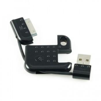 Cablu de date/incarcare Macally pentru Apple iPhone/iPad/iPod, tip breloc, Negru
