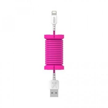 Cablu de date lightning, MFI, pentru iPhone, Philo SPOOL CABLE, 1m, Roz