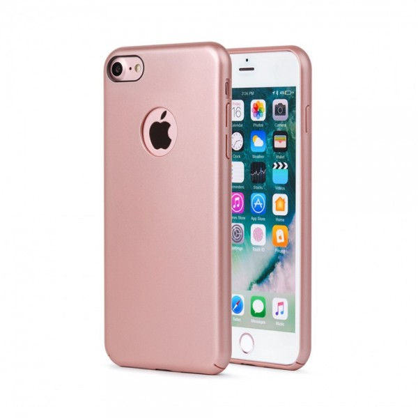 Husa de protectie Meleovo 360 Shield, pentru Apple iPhone 8, Rose Gold - 3