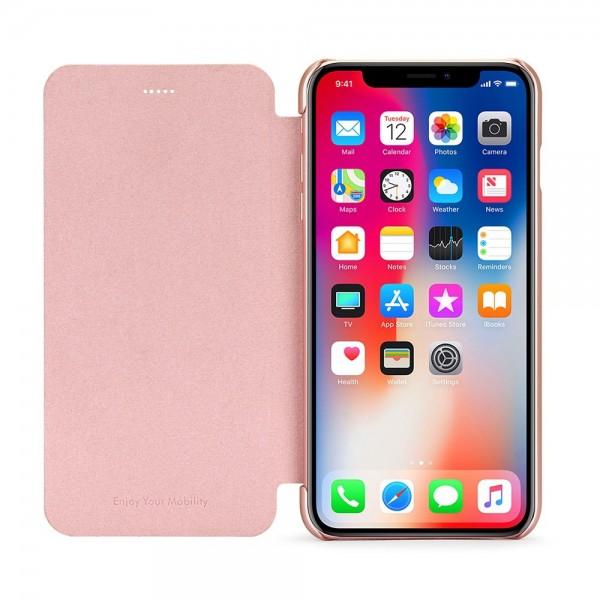 Husa de protectie Meleovo Smart Flip, pentru Apple iPhone X, Rose Gold - 2