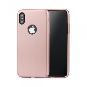 Husa de protectie Meleovo 360 Shield, pentru Apple iPhone X, Rose Gold - 1
