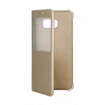 Husa Flip S-View pentru Samsung S6 Edge Plus gold